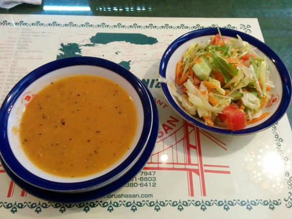 ボスボラスハサン 新宿二丁目店 スープとサラダ